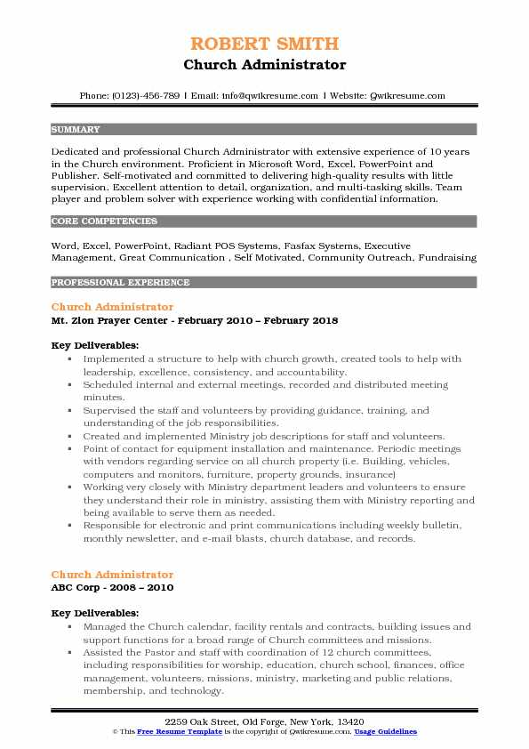 Church Administrator Resume Samples | QwikResume