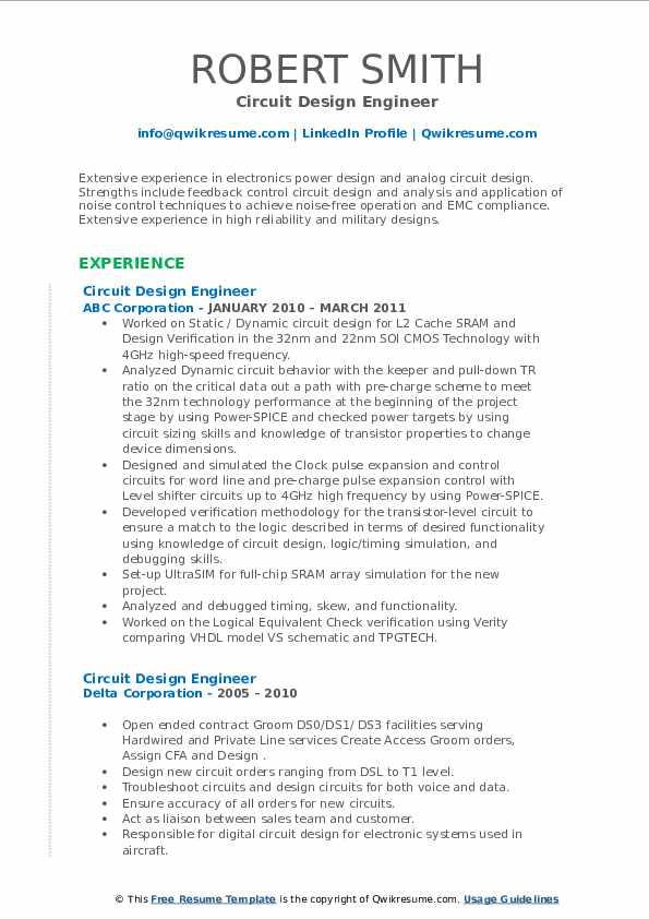 circuit design engineer resume samples  qwikresume