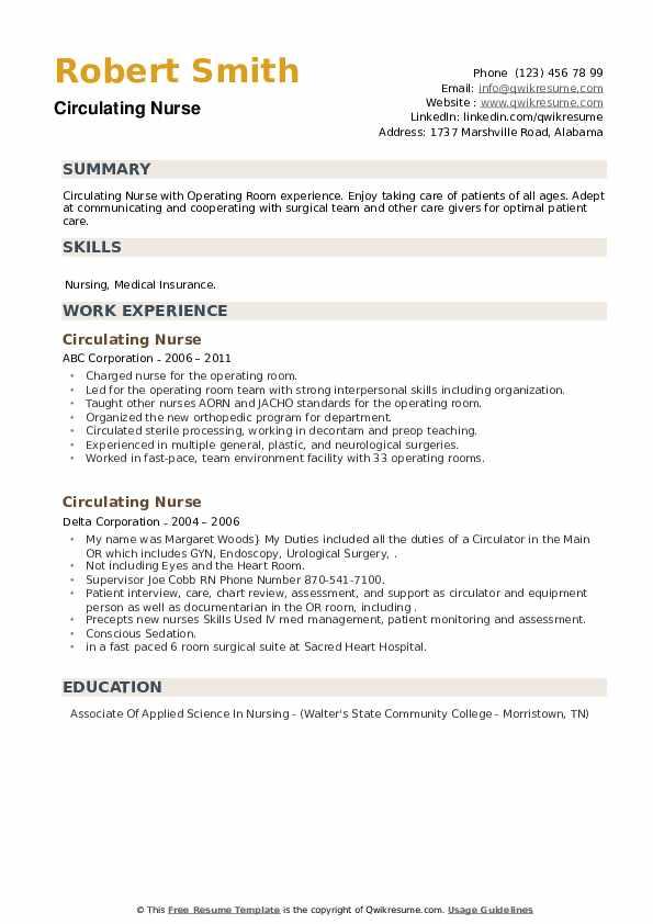 Circulating Nurse Resume example
