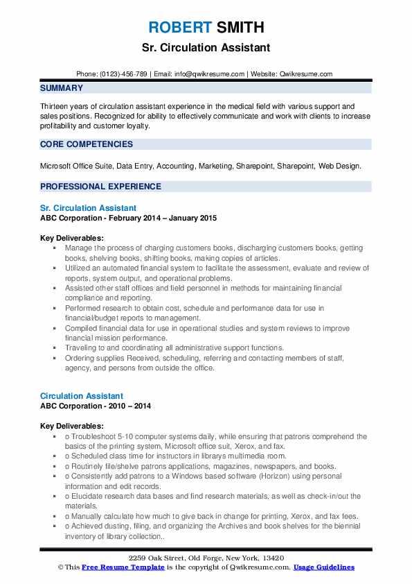 Sr. Circulation Assistant Resume Format