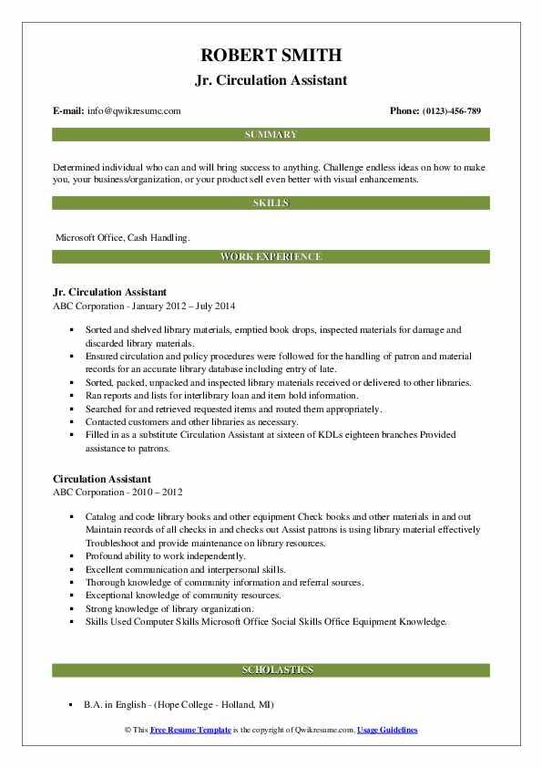 Jr. Circulation Assistant Resume Sample
