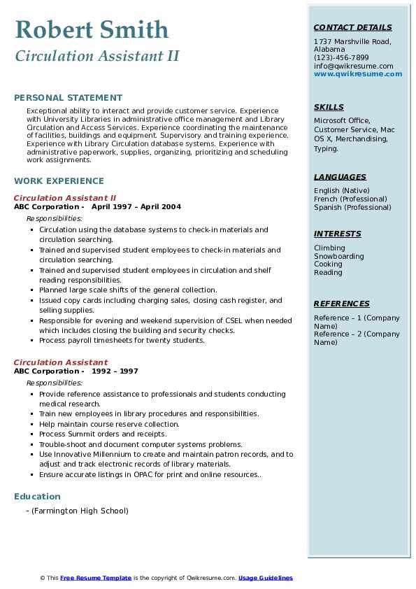 Circulation Assistant II Resume Format