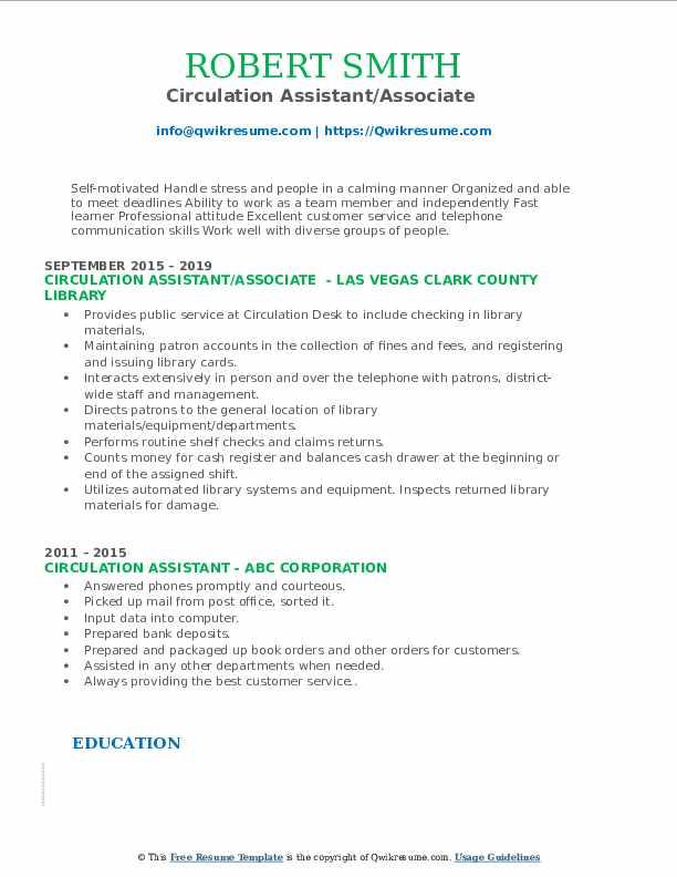 Circulation Assistant/Associate  Resume Example