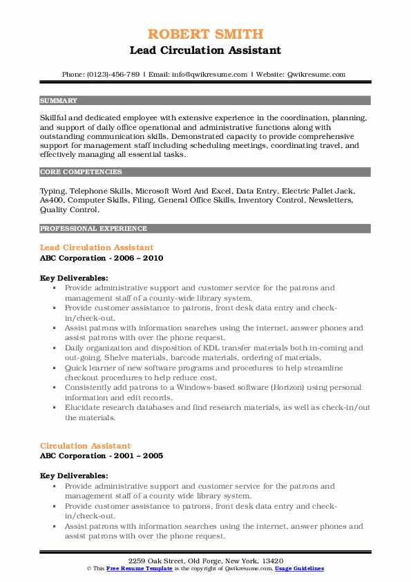 Lead Circulation Assistant Resume Model