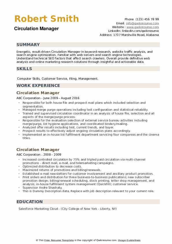Circulation Manager Resume example