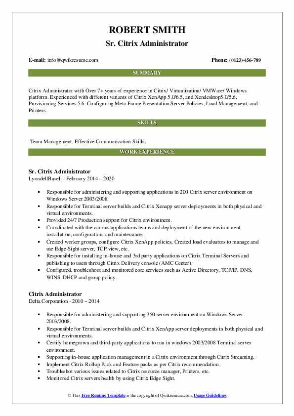 Citrix Administrator Resume example