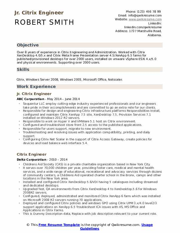 Citrix Engineer Resume example