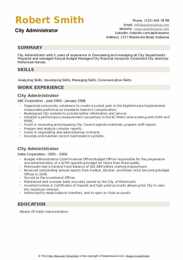 City Administrator Resume example
