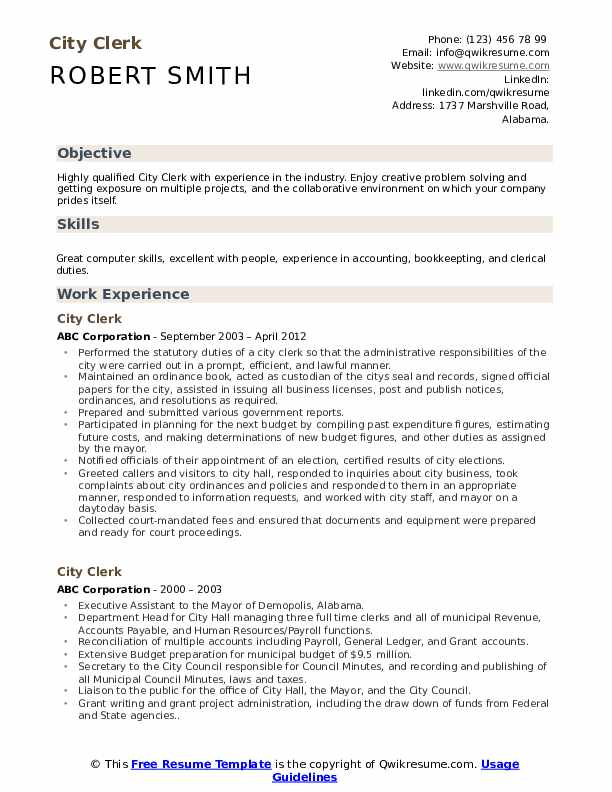 City Clerk Resume Sample