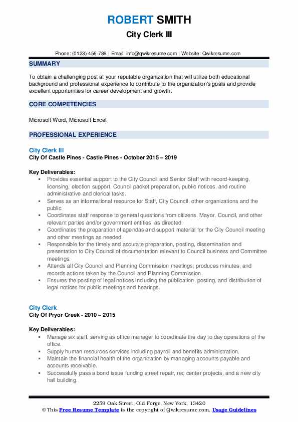 City Clerk III Resume Format