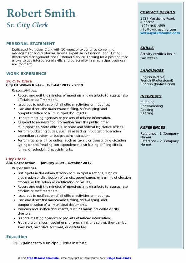 Sr. City Clerk Resume Model
