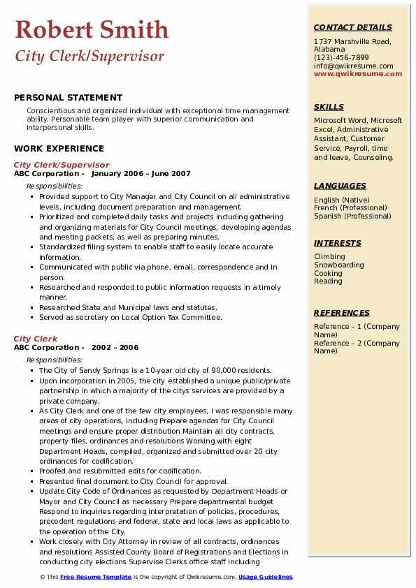 City Clerk/Supervisor Resume Sample