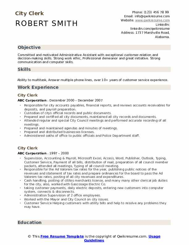 City Clerk Resume example