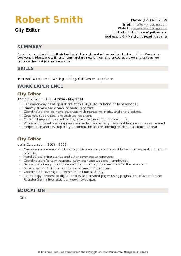 City Editor Resume example