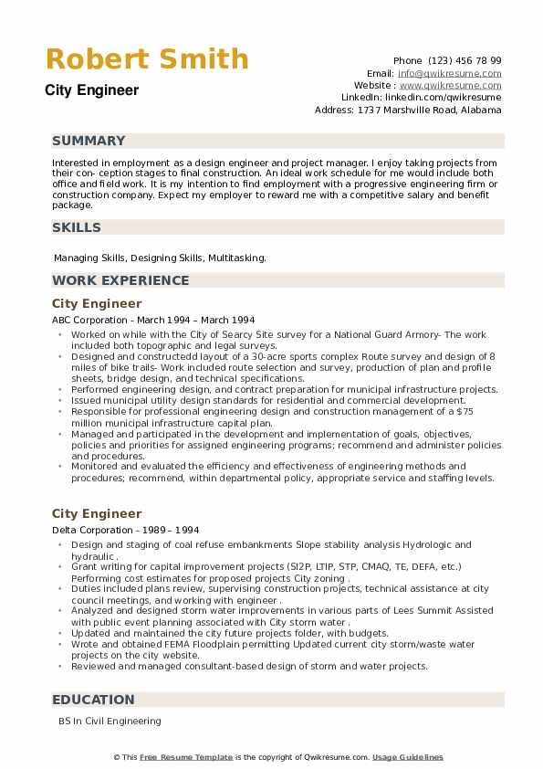 City Engineer Resume example