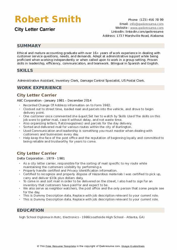 City Letter Carrier Resume example