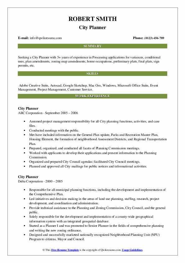 city planner resume samples  qwikresume