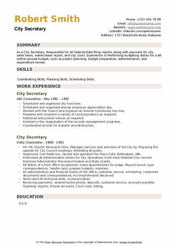 City Secretary Resume example