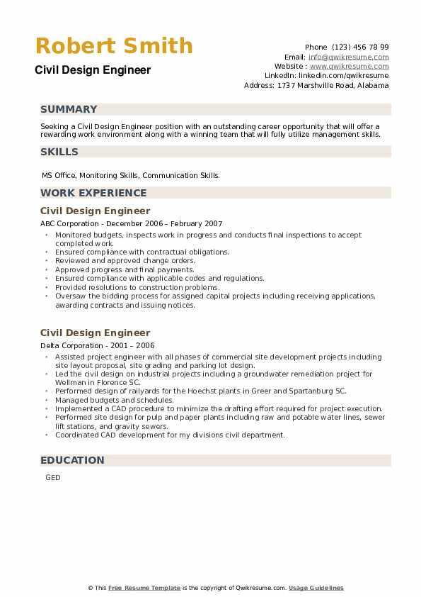 Civil Design Engineer Resume example