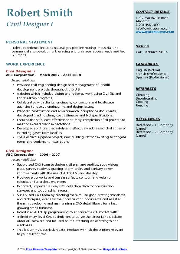 civil designer resume samples