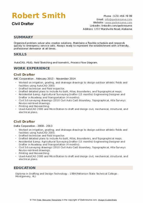Civil Drafter Resume example