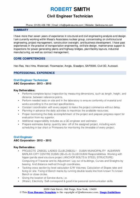 Civil Engineer Resume Samples Qwikresume