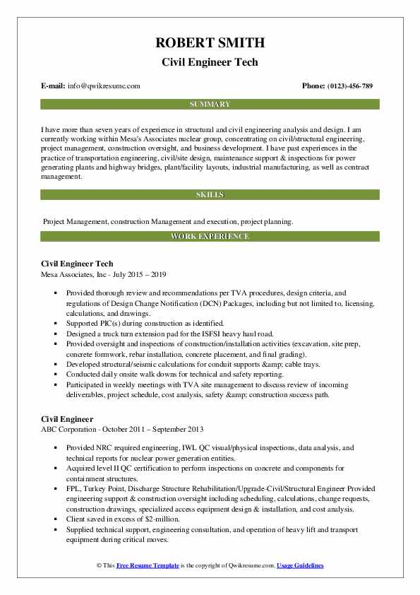Civil Engineer Tech Resume Sample