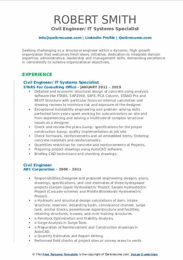 Civil Engineer/ IT Systems Specialist Resume Format