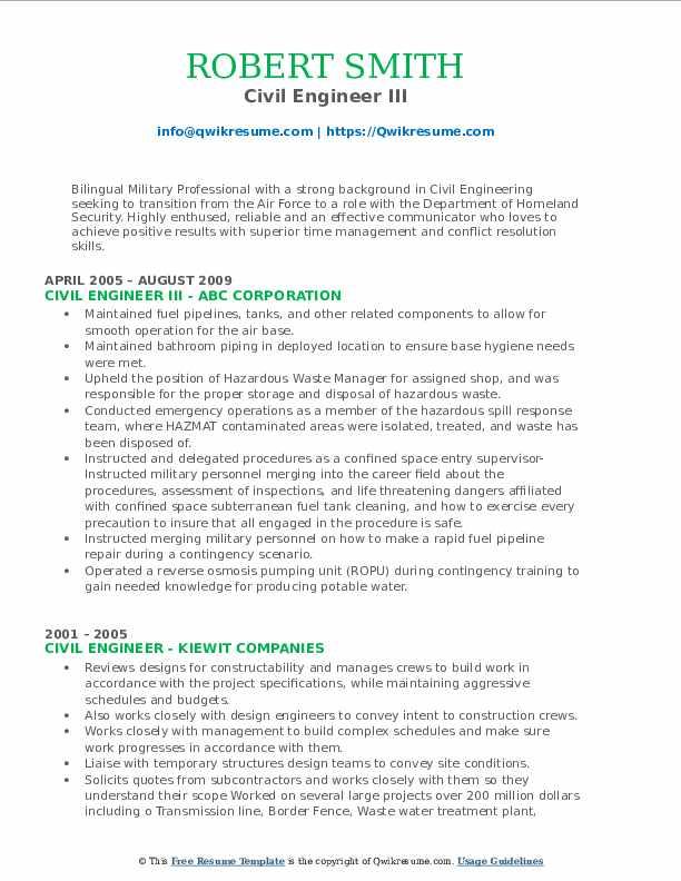 Civil Engineer III Resume Format