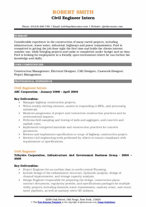 Civil Engineer Intern Resume Format