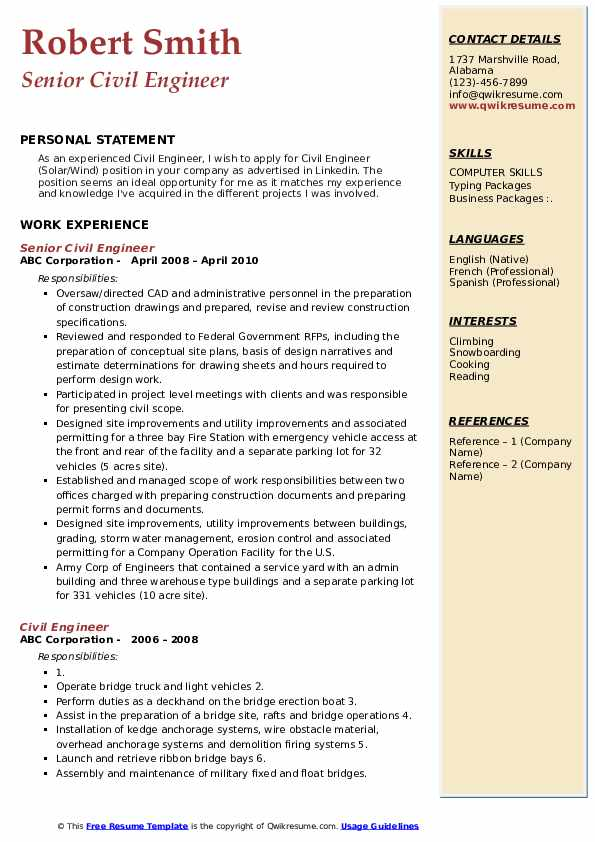 Senior Civil Engineer Resume Model