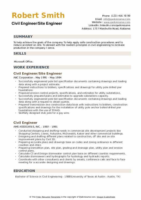 Civil Engineer/Site Engineer Resume Example