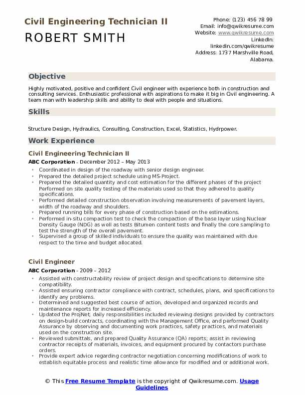 Civil Engineering Technician II Resume Format