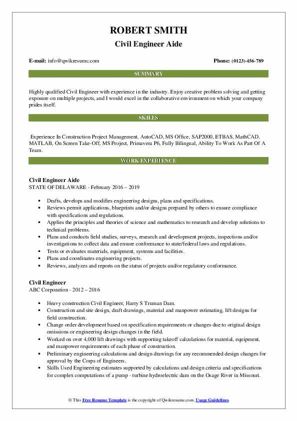 Civil Engineer Aide Resume Model