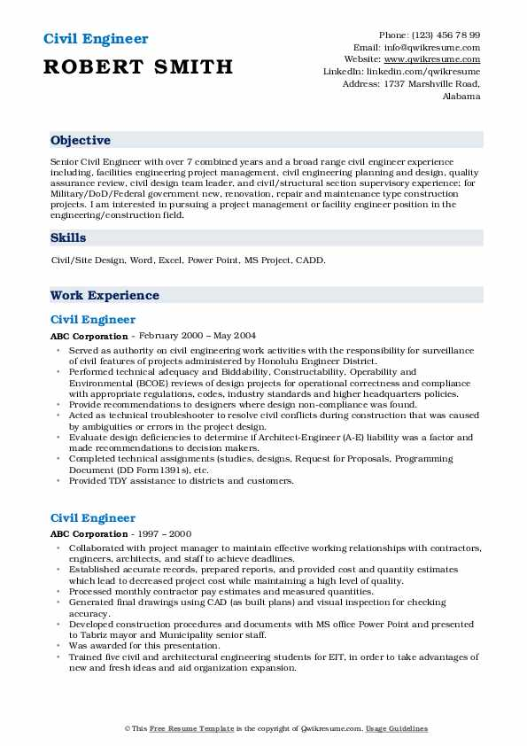 Civil Engineer Resume Samples | QwikResume