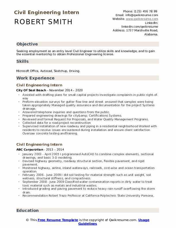 Civil Engineering Intern Resume Samples Qwikresume