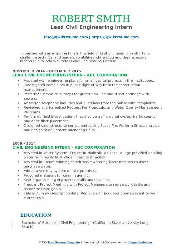 Civil Engineering Intern Resume Samples | QwikResume