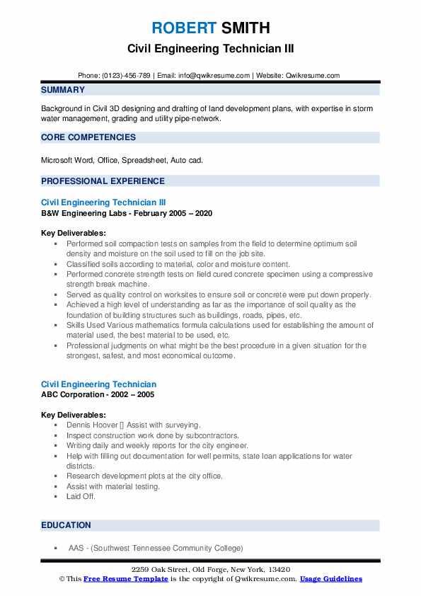 civil engineering technician resume samples  qwikresume