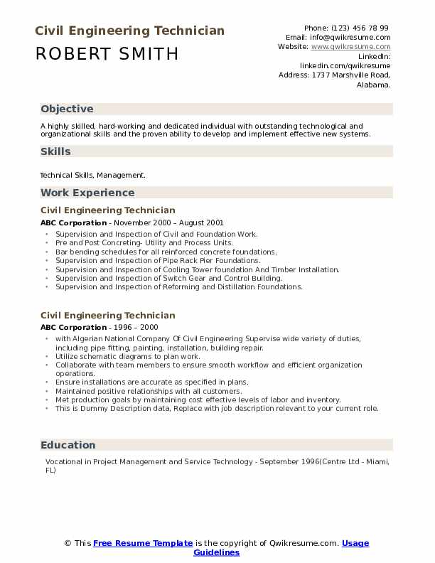 Civil Engineering Technician Resume example