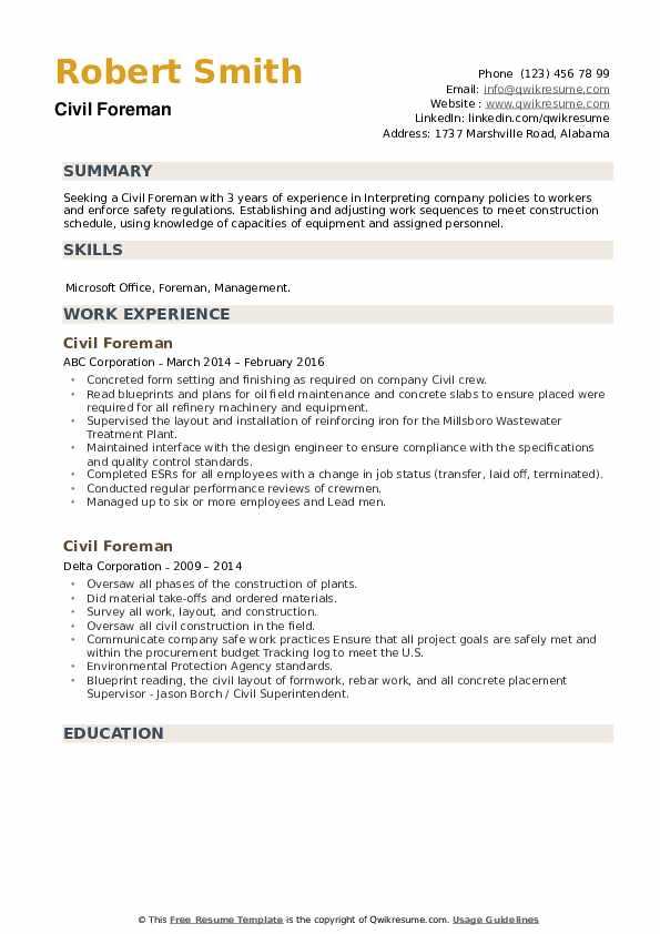 Civil Foreman Resume example