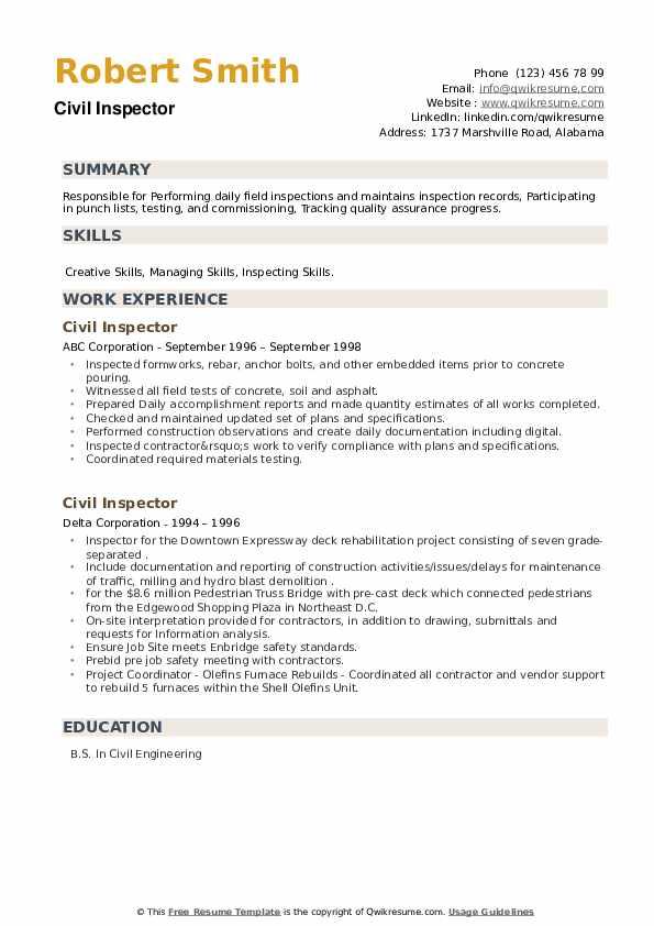 Civil Inspector Resume example