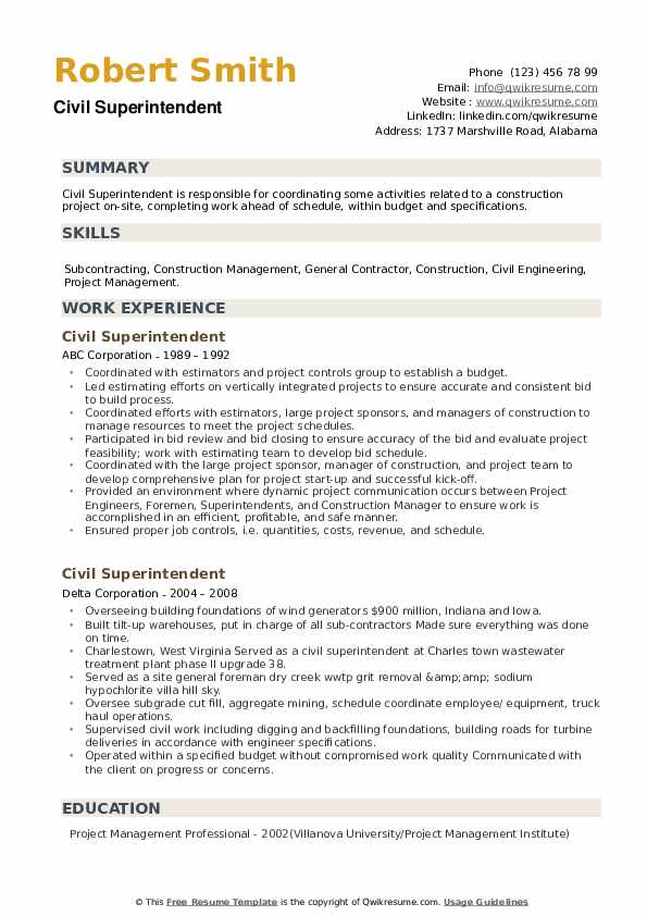 Civil Superintendent Resume example