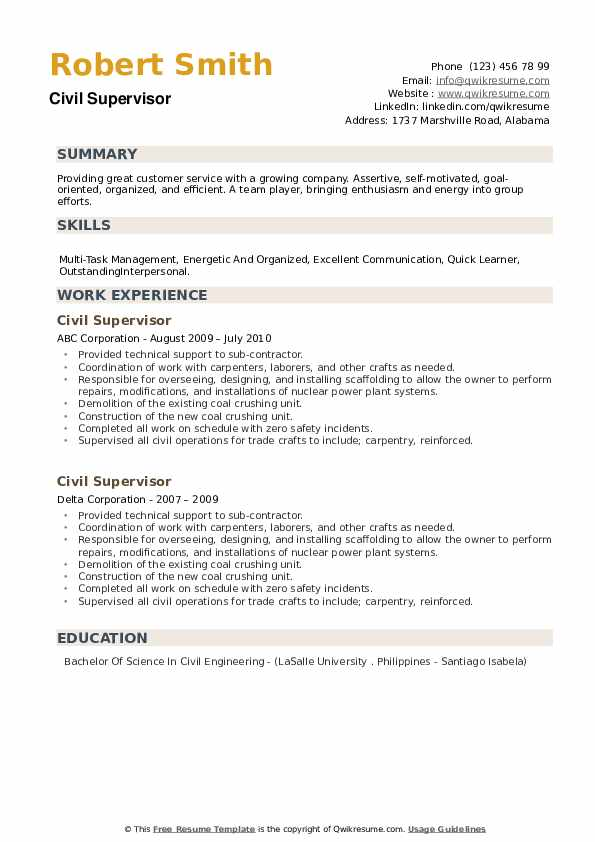 Civil Supervisor Resume example