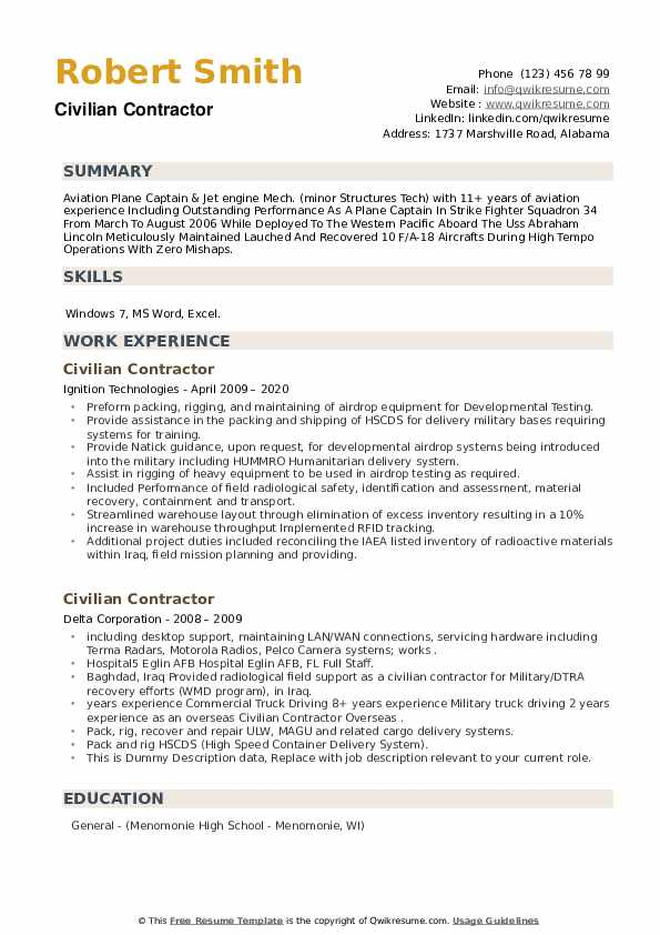 Civilian Contractor Resume example
