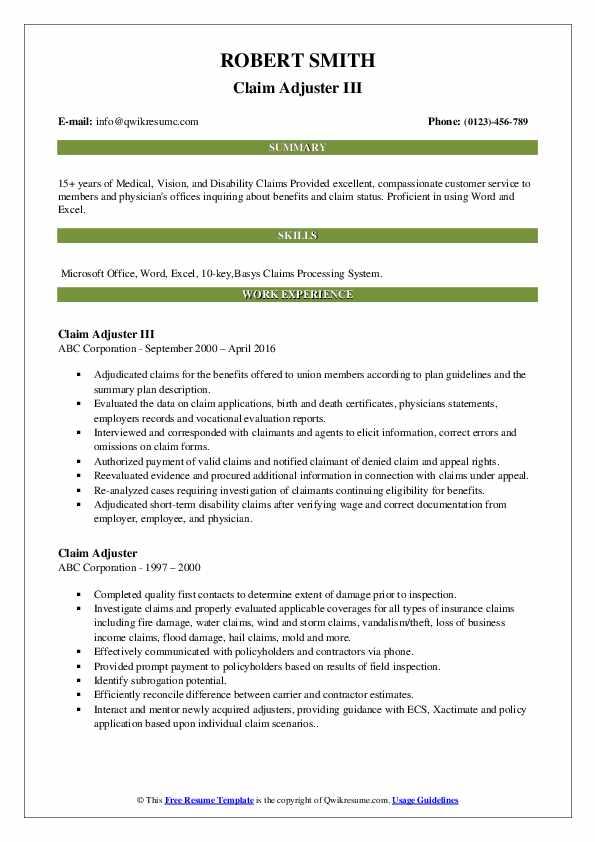 Claim Adjuster Resume Samples | QwikResume
