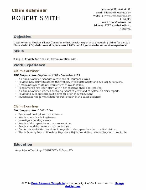 Claim Examiner Resume example