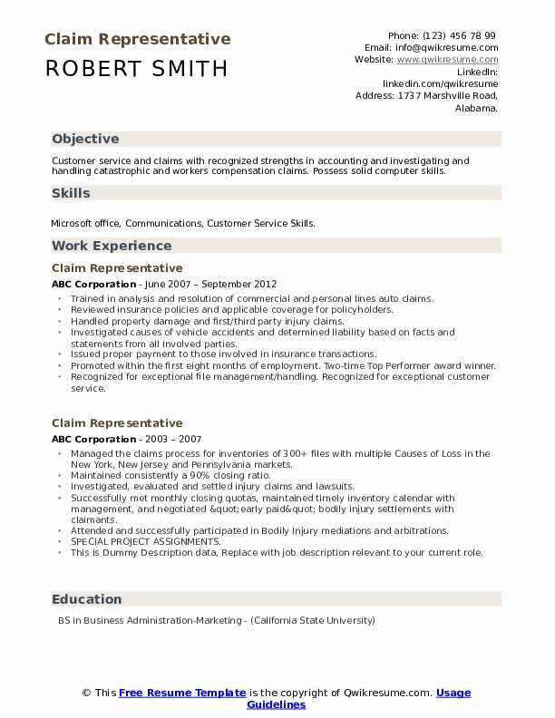 Claim Representative Resume example