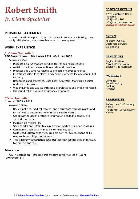 Claim Specialist Resume example