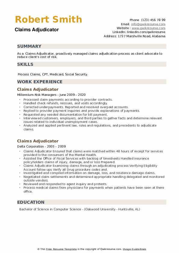 Claims Adjudicator Resume example