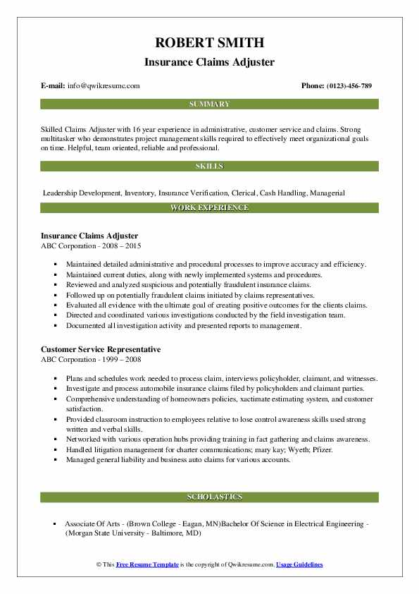 Insurance Claims Adjuster Resume Example